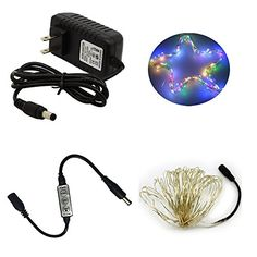 HIKETOLIGHT LED Rice Light One Kit 10M 100L Fairy Light  Mini 3Keys Single Color Controller  12V 1A Wall Wart Power Supply RGB Lighting Flexible for Any DIY Decoration -- Click image for more details.