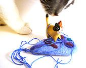 Blue Giardia Wool Catnip Cat Toy - Needle Felted Wool