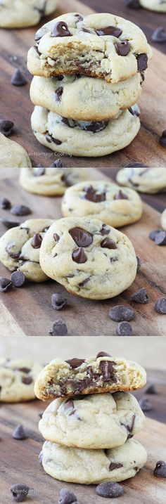 Cream Cheese Chocolate Chip Cookies | Soft & Chewy! No one will believe they are homemade! ~American Heritage Cooking #cookie #dessert #recipe #chocolatechip #chocolatechipcookie #creamcheese