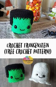 With just a little bit of yarn and about an hour of time, you can make this adorable crochet Frankenstein to dress up your Halloween mantel. This quick Halloween craft would be a great hostess gift or teacher gift as well! by stefanie Quick Halloween Crafts, Halloween Mantel, Spirit Halloween, Halloween Tricks, Halloween Projects, Halloween Costumes, Crochet Crafts, Crochet Toys, Crochet Projects