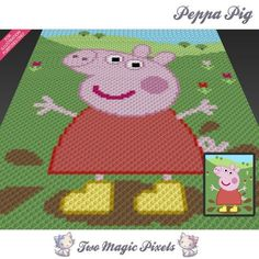 Peppa Pig inspired c2c graph crochet pattern; instant PDF download; baby…