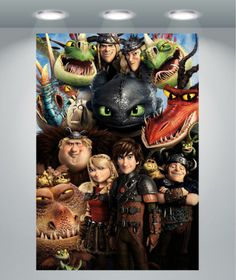 How To Train Your Dragon 2 birthday party. Table backdrop ideas. Poster. Characters.