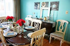 dining room - black table, white chairs, bright walls
