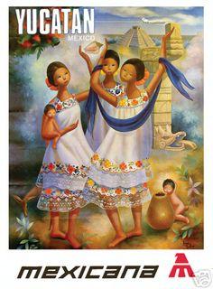 Shop Vintage Travel Poster, Yucatan Poster created by yesterdaysgirl. Vintage Art Prints, Vintage Ads, Vintage Airline, Vintage Style, Retro Poster, Poster Vintage, Wanderlust, Arte Popular, Mexican Art