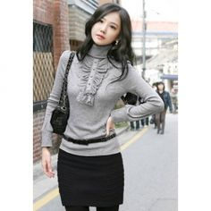 $6.62 Mix Match Turtle Neck Solid Color and Ruffled Design Cotton Bottoming Shirt For Women