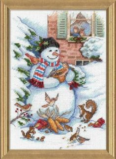 SNOWMAN & FRIENDS Birds Picture Cross Stitch Kit ~ NEW