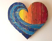 Wave Rainbow Wood Heart- woodart ,wall hanging , beach art, reclaimed wood, spring decor, summer decor