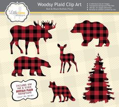 This manly set of clip art features woodsy animal silhouettes in a red and black buffalo plaid print. Hirsch Silhouette, Moose Silhouette, Silhouette Clip Art, Animal Silhouette, Christmas Scenes, Plaid Christmas, Rustic Christmas, Christmas Crafts, Christmas Decorations
