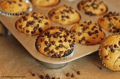 Banana chocolate chip muffins. Soft banana muffins studded with loads of chocolate chips. Easy to make, perfect for breakfast, brunch or dessert.