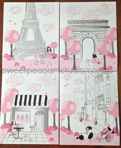 Paris Pink Black Gray Paris Parisan Iconic by sweetpeasartstudio2, $21.99