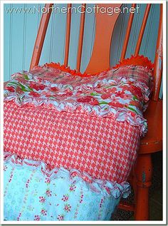How to make a vertical lines rag quilt-- Interesting and a time saver, I've always used squares and never thought of using strips.