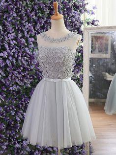 Gris, Longueur genou, appliques, robe fête de la rentrée, bal de fin d'année