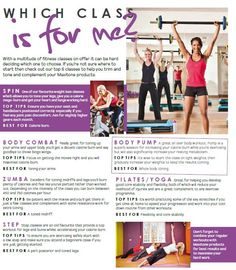 Which exercise class is right for your goal? Spinning, body combat, zumba, step, body pump, pilates, yoga? Find your motivation here!