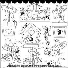 Love My Garden 1 B/W Clip Art
