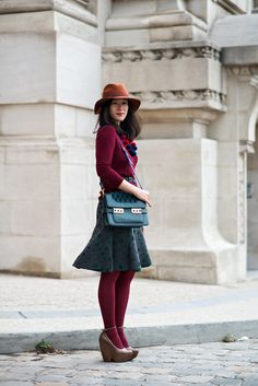 The Locals in Paris (street style). LOVE this. Anyone got an ID on the supercute wedges or gorgeous teal bag?