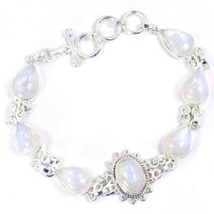 """The Silver Plaza Braidsmaids Sterling Silver Moonstone Bracelet The Silver Plaza. $115.25. Moonstone Bracelet. Each item is designed and handcrafted by our artisans.. Adjustable 7""""-8"""" .925 sterling Silver. You are looking at a one of a kind piece, the pictured jewelry will be the same exact piece you'll receive.. Genuine Stone. Each item comes shipped in jewelry box.. Save 46%!"""