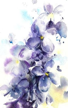 Original Watercolor Painting Lilac Flowers Purple by CanotStop
