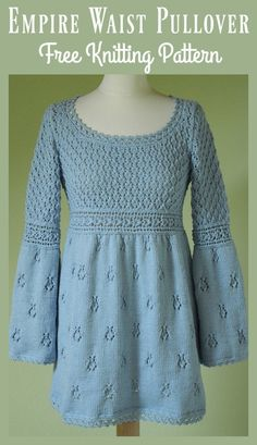 Empire Waist Pullover Sweater Free Knitting Pattern #freeknittingpattern #dresspattern