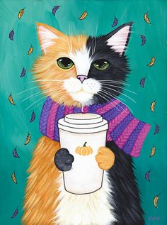 Autumn Pumpkin Coffee Cat Original Folk Art Painting by KilkennycatArt