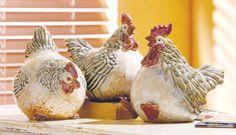 Chubby Chicken (Set of 3) Ceramic Figurines