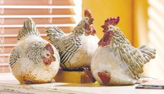 Chubby Chicken (Set of 3) Ceramic Figurines