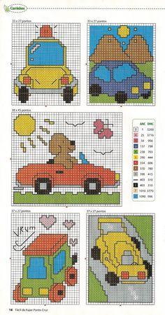 Gráfico de carrinhos, ponto cruz para meninos.  Os meninos adoram carros, caminhões, tudo que tem rodas. Selecionei lindos gráficos ...