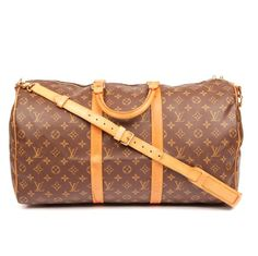 dd10a5ba42a63e Duffle Keepall Bandouliere 50 Brown 5663 Monogram Canvas Leather  Weekend/Travel Bag