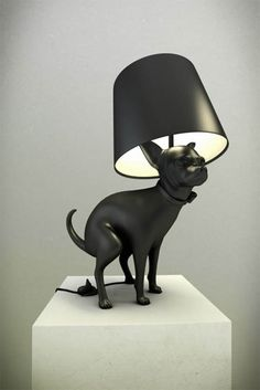 Pooping Chihuahua and Doberman Lamps... Step into it to turn it on!