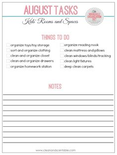 The Household Organization Diet August Tasks - How to clean and organize kids' rooms.  Free printables and tons of ideas included.  You can do it!