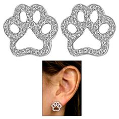 Little Bling Paw Earrings - Every Purchase Funds Food and Care for Rescued Animals.