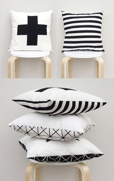"Double Sided Pillow cover , Big plus sign pillow Case, Swiss cross pillow Case, 16""X16"" Black and White Cross Pillow Case"