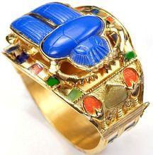 THOMAS FATTORINI Ltd. England  Lapis Scarab and Enamel 'Egyptian Revival'  Hinged Bangle Bracelet