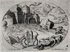 Etienne Delaune. The Prophet of Judas, killed by a lion. From a Set of eleven scenes from the Old Testament. Engraving, 1561