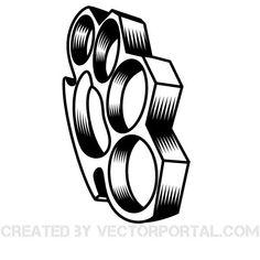 Vector illustration of brass knuckles.