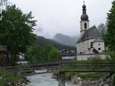 "This is a very famous view of the ""Silent Night"" Church in Ramsau, Germany, not far from Berchtesgaden. Josef Mohr, the man who penned the lyrics to the hymn Silent Night, preached here."