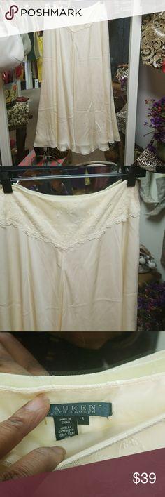Beautiful Flowing 100% Silk Skirt Ralph Lauren Vintage Shirt Beautiful Cream Skirt Ralph Lauren RRL Skirts A-Line or Full