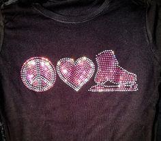 Peace Love Ice Skating Rhinestone Bling T Shirt- Custom Team, School, and Spirit Apparel
