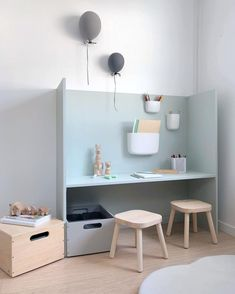 Something new in the playroom 🖍 Desk made by my husband, and storage boxes from Marianne Hansen Devoldfabrikken /ad Ikea Kids Desk, Kids Workspace, Ikea Kids Room, Kids Bedroom, Painted Bedroom Furniture, Kids Furniture, Wooden Furniture, Furniture Design, Blue Furniture