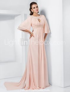 A-line Jewel Sweep/Brush Train Chiffon Evening Dress inspired by Melissa McCarthy at the 84th Oscar - US$ 199.99