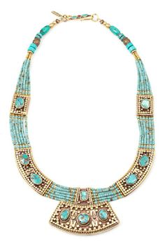 Vanessa Mooney Moon Shield Turquoise Necklace