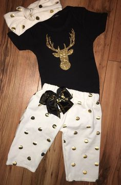 baby girl stag outfit-deer outfit-coming home by SunFlareBoutique