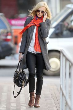 with black jeans, lacy top, brown lace boots, and a bright silky scarf  \\ @dressmeSue pins good outfits