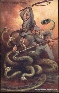 Rare German WW1 Propaganda Poster showing the German me killing the allied snakes