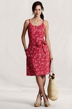 Land's End Canvas Women's Tie Waist Henley Dress $79.50