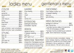 Viva Voce Hair Salon Menu with services and prices