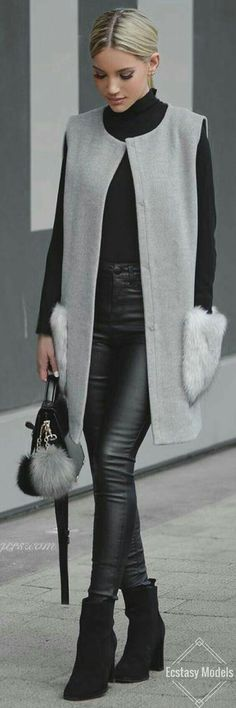 Fall Outfits Vest, knee length best, I want my style, winter wear, Grey Vibes // Fashion Look by Shanda Rogers Mode Outfits, Winter Outfits, Casual Outfits, Winter Clothes, Fashion 2017, Fashion Outfits, Womens Fashion, Cheap Fashion, Fashion News
