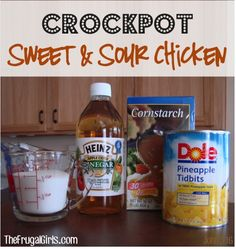 Crockpot Sweet and Sour Chicken Recipe with Pineapple {Best Ever!} – The Frugal Girls Crockpot Sweet and Sour Chicken Recipe in Crockpot Recipe, Main Courses Sides, Recipes Crock Pot Food, Crock Pot Freezer, Crockpot Dishes, Crock Pot Slow Cooker, Slow Cooker Recipes, Crockpot Recipes, Cooking Recipes, Slow Cooking, Healthy Recipes