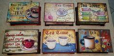 Cajas para té Decoupage Vintage, Tea Box, Wooden Hearts, Coffee Art, Vintage Wood, Vintage Posters, Coasters, Tea Cups, Art Pieces