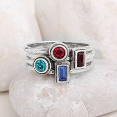 Create your own Personalized Stacking Family Birthstone Ring Set. Stackable Birthstone Bands in Sterling Silver. Birthstone Stacking Rings, Birthstone Jewelry, Stackable Rings, Multiple Rings, Mother Rings, Ring Set, Gifts For New Moms, Birthstones, Gemstone Rings
