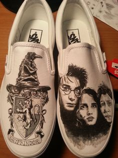 Custom Made Harry Potter, Hermione Granger, and Ron Weasley Shoes ARTWORK and SHOES INCLUDED